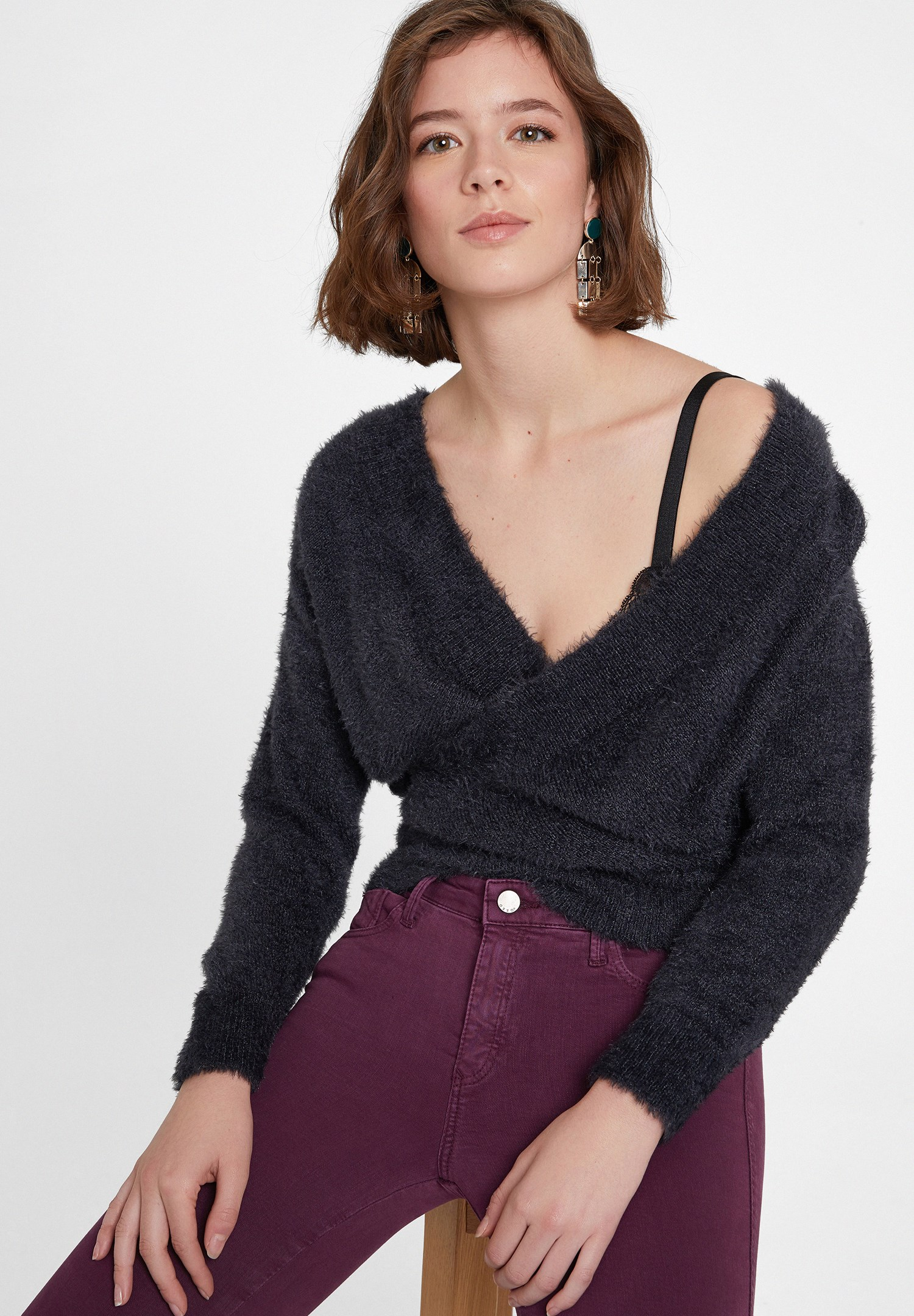 Women Grey Crossover Knitwear with Back Detail