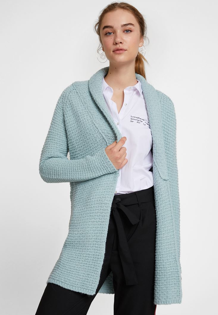 Blue Cardigan with Neck Details