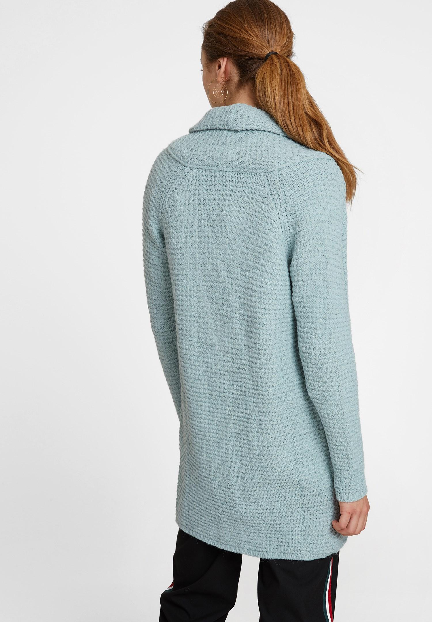 Bayan Mavi Yaka Detaylı Uzun Hırka