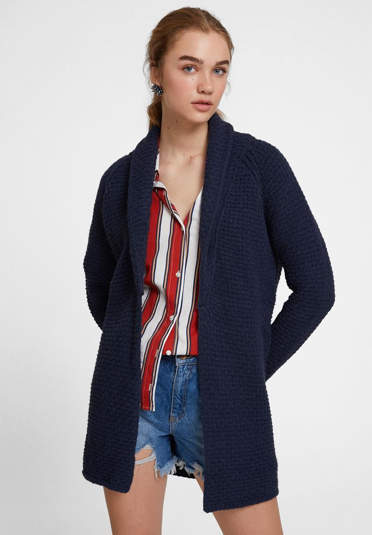 Navy Cardigan with Neck Details