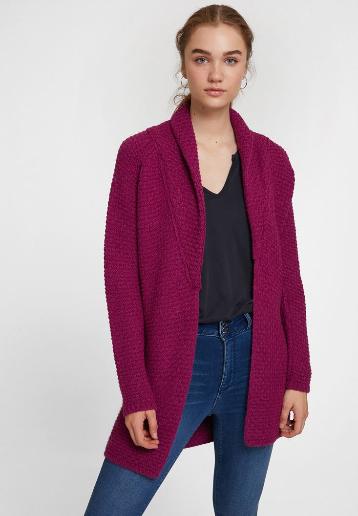 Purple Cardigan with Neck Details