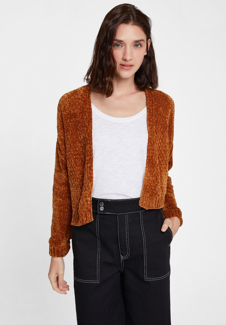 Brown Chenille Cardigan with Details