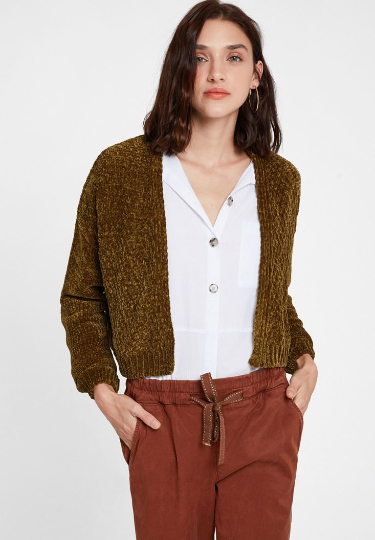 Green Chenille Cardigan with Details