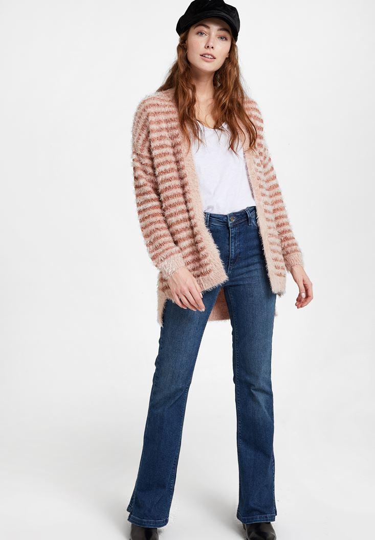 Mixed Cardigan with Stripe