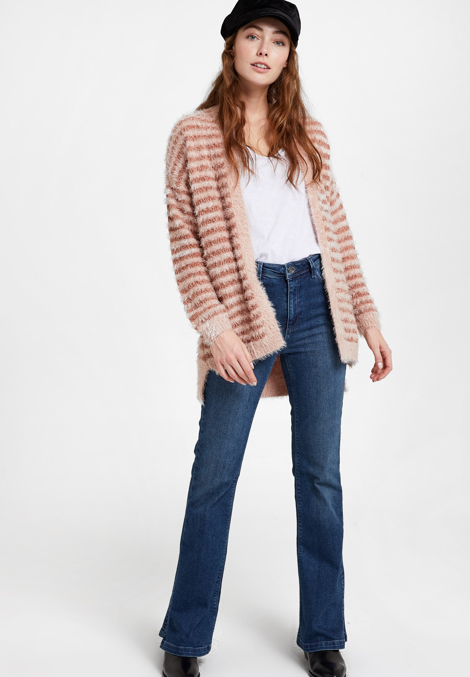 Women Mixed Cardigan with Stripe