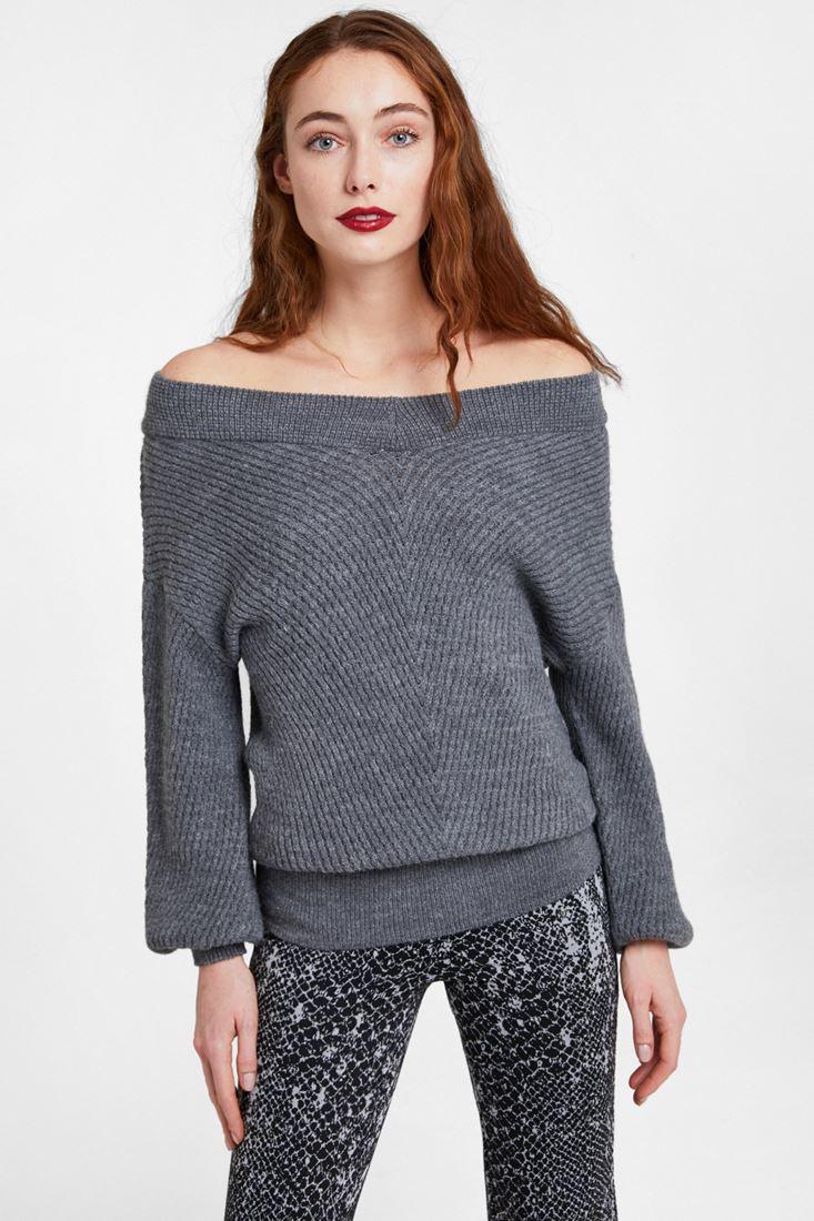 Grey Off Shoulder Knitwear
