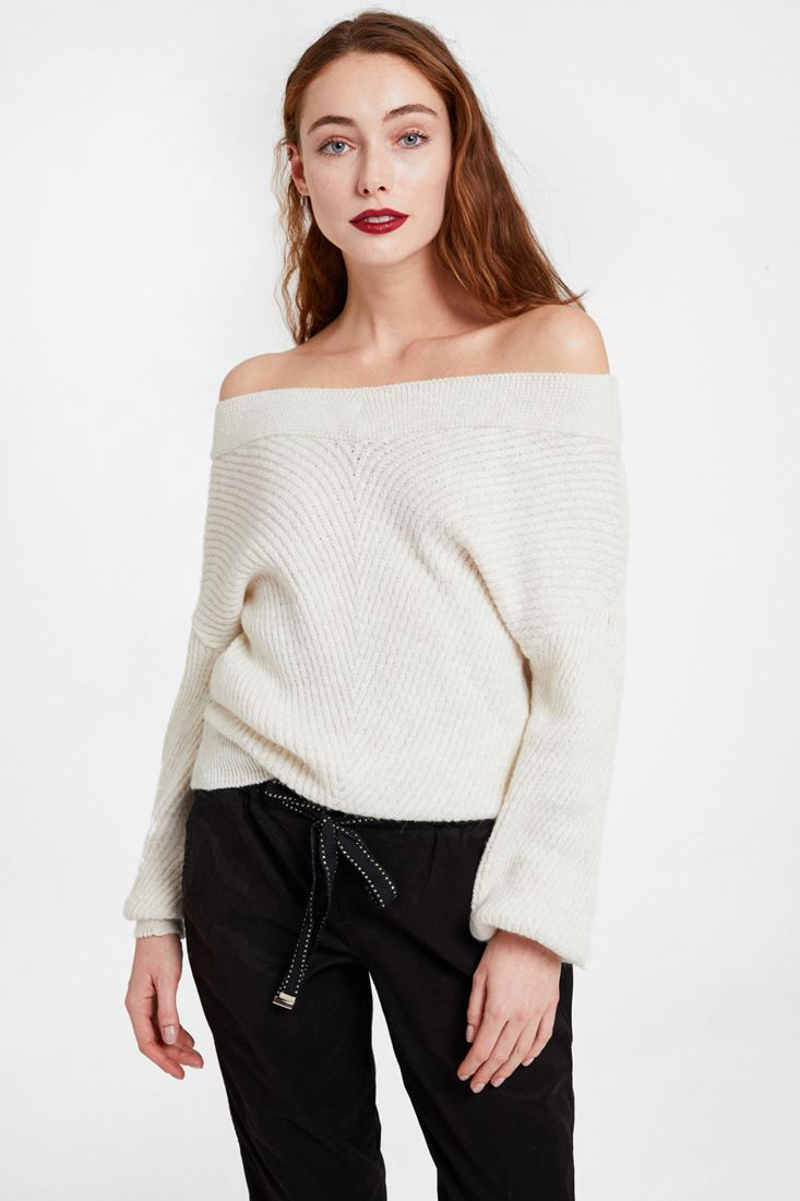 Cream Off Shoulder Knitwear