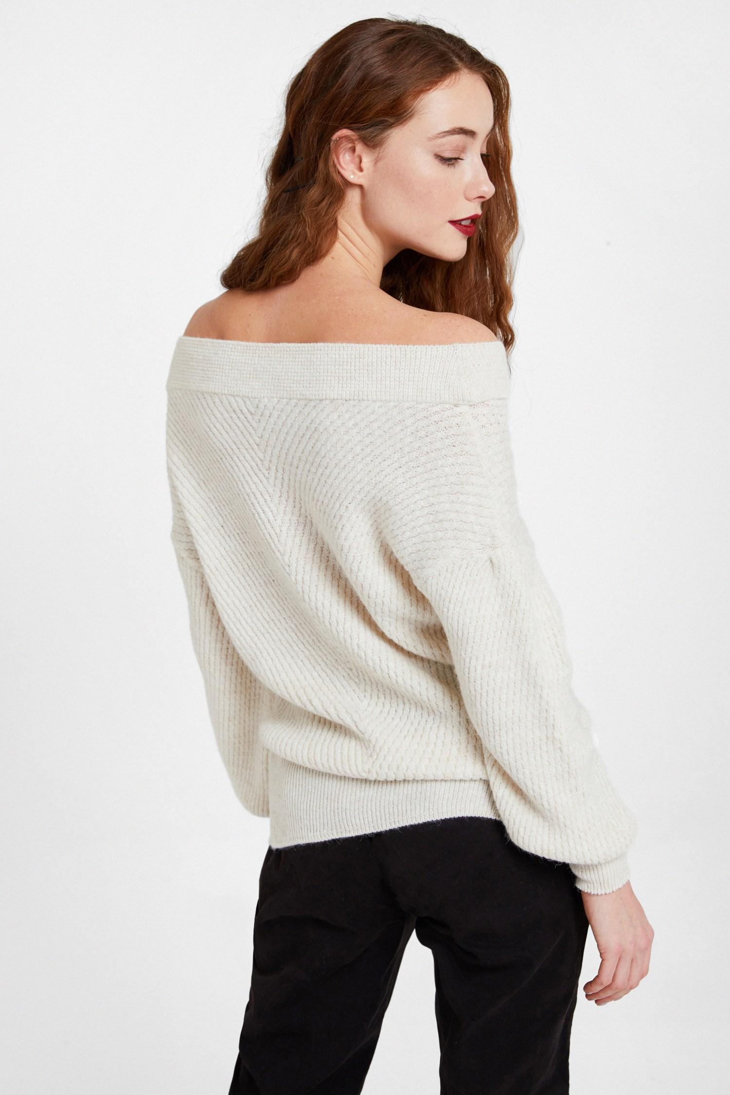 Women Cream Off Shoulder Knitwear