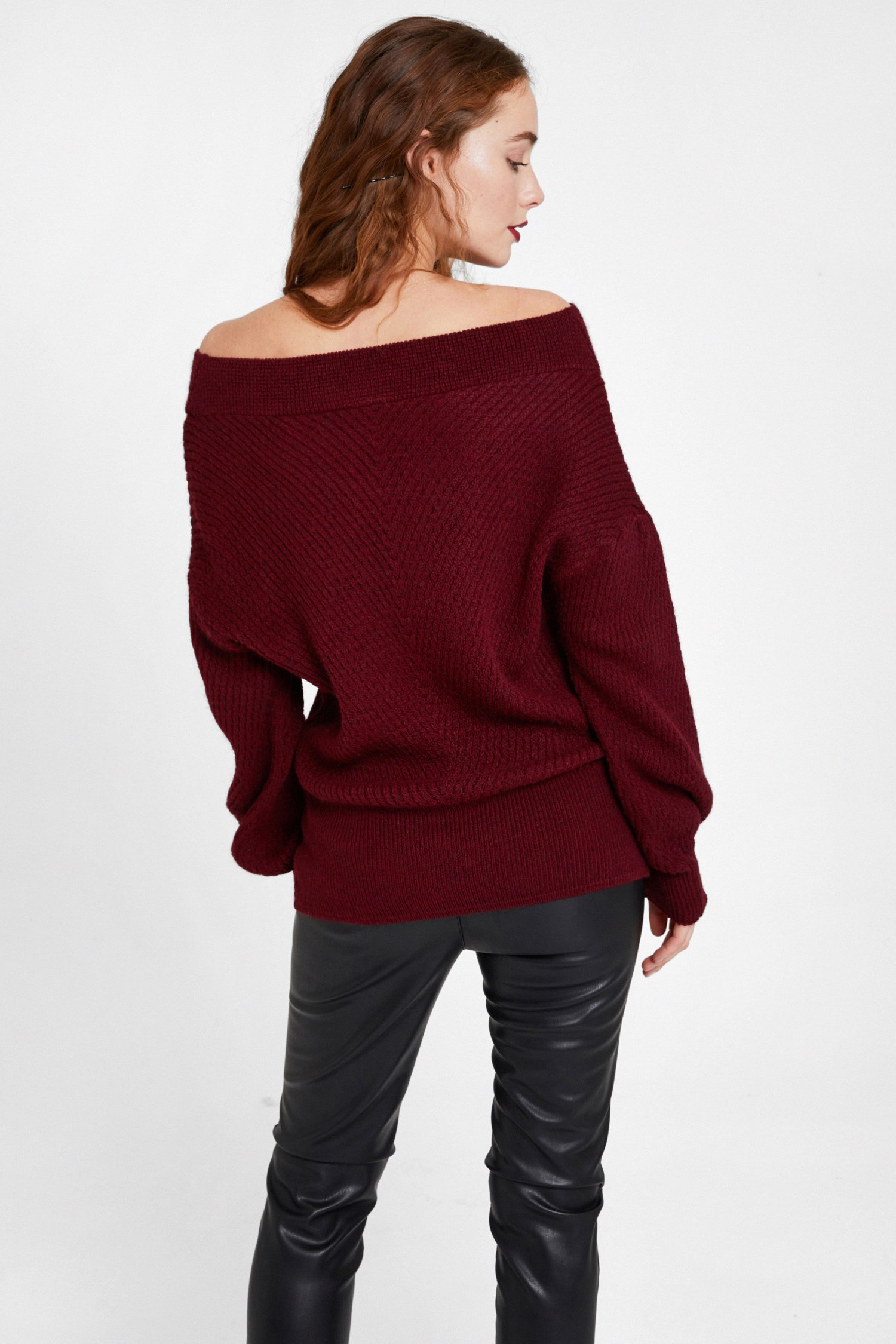 Women Bordeaux Off Shoulder Knitwear