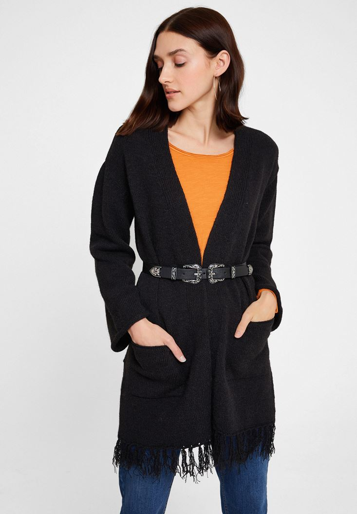 Black Long Sleeve Cardigan with Detail