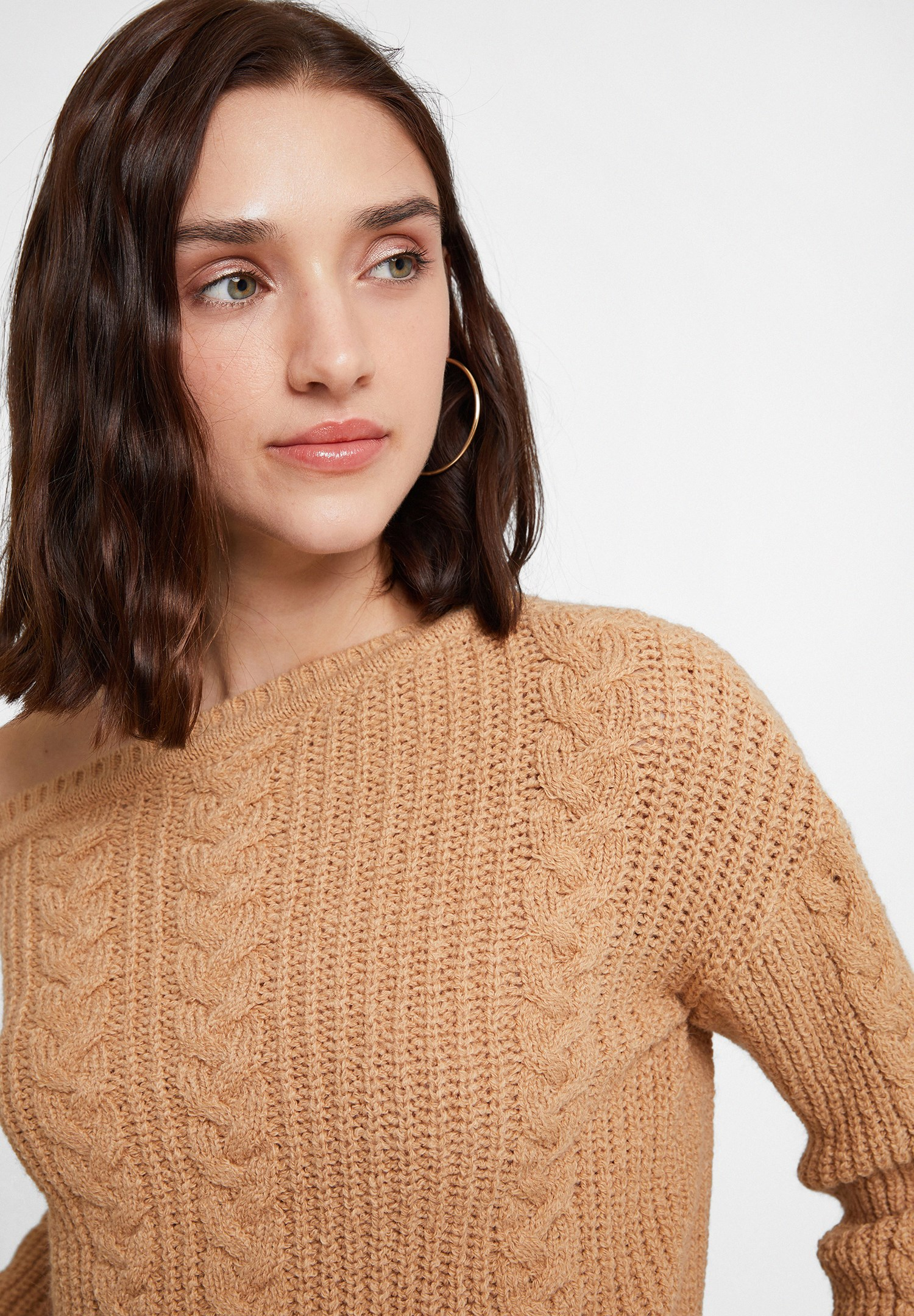 Women Brown Braided Knitwear