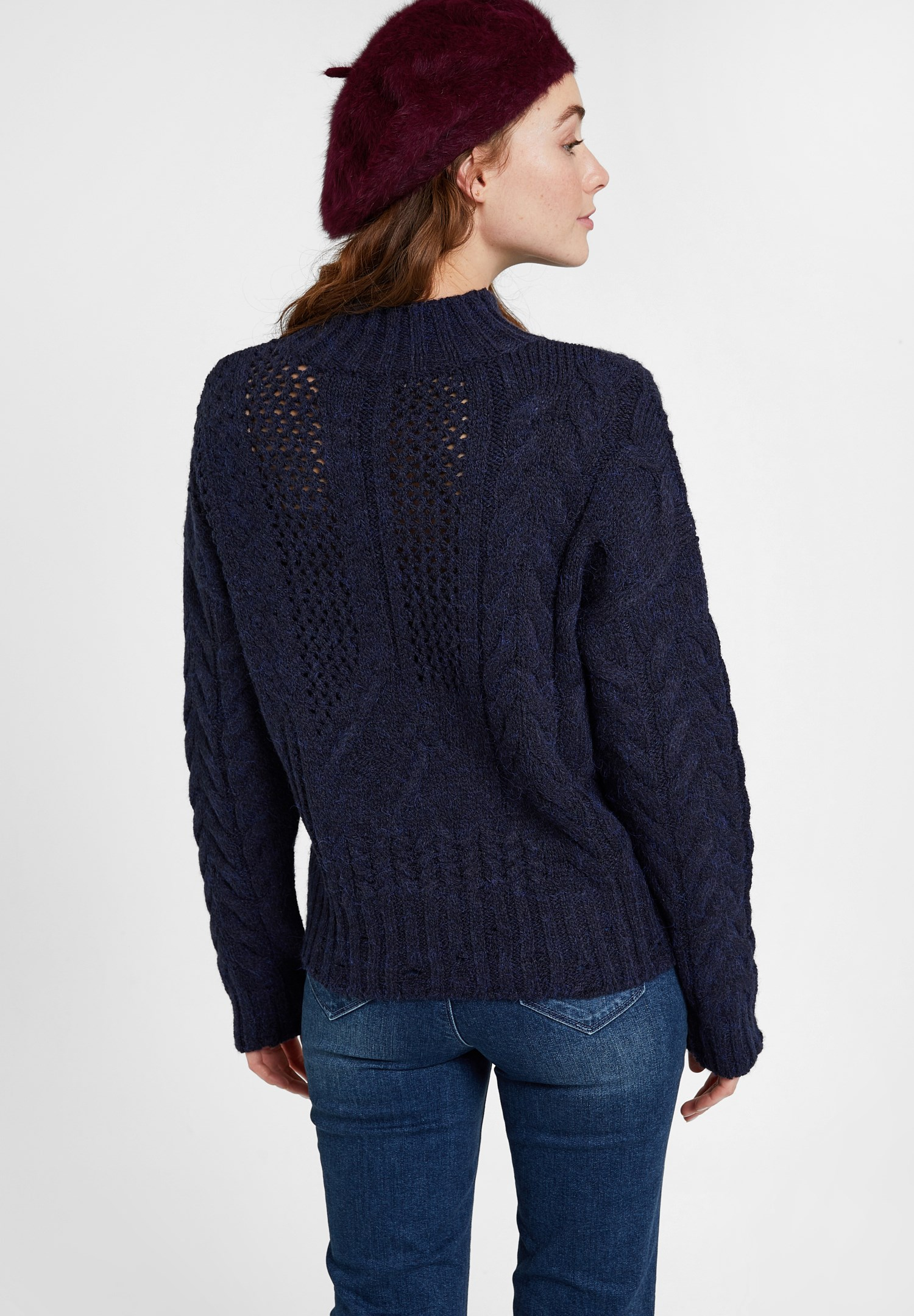 Women Navy Knitted Pullover with Neck