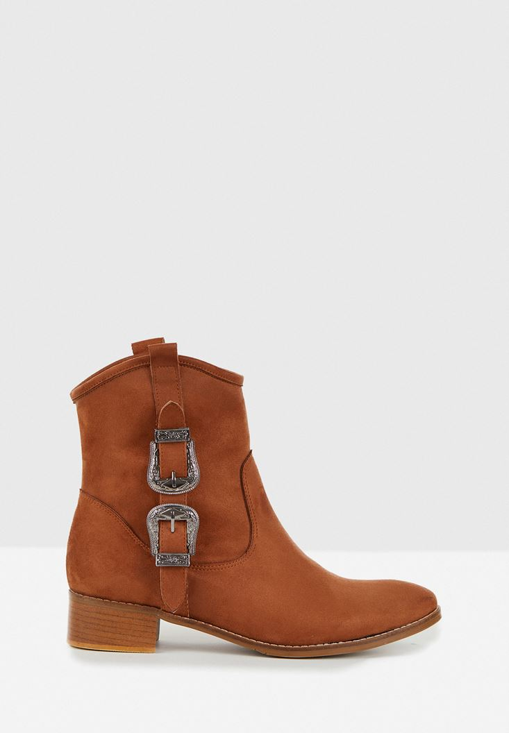 Brown Boots with Buckle Detail