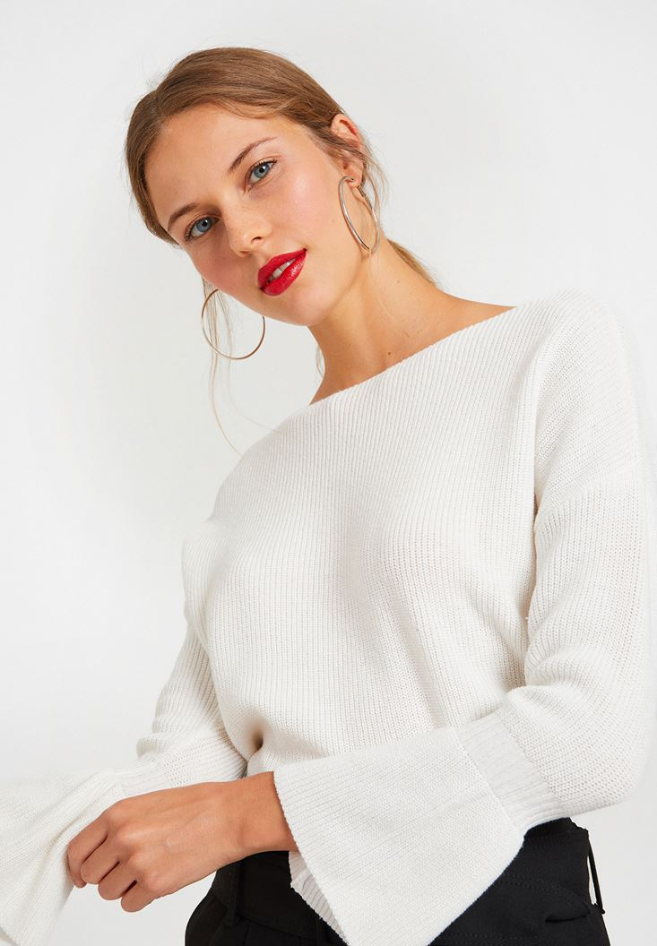 Cream Long Sleeve Knitwear with Details
