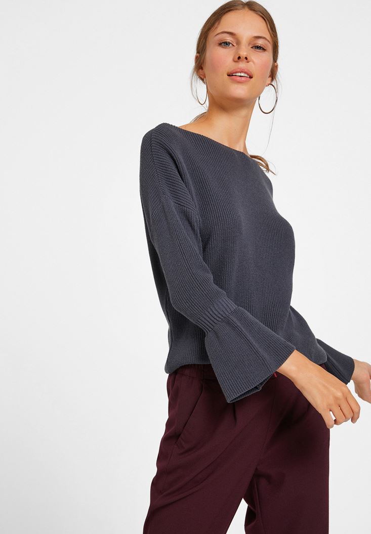 Grey Long Sleeve Knitwear with Details