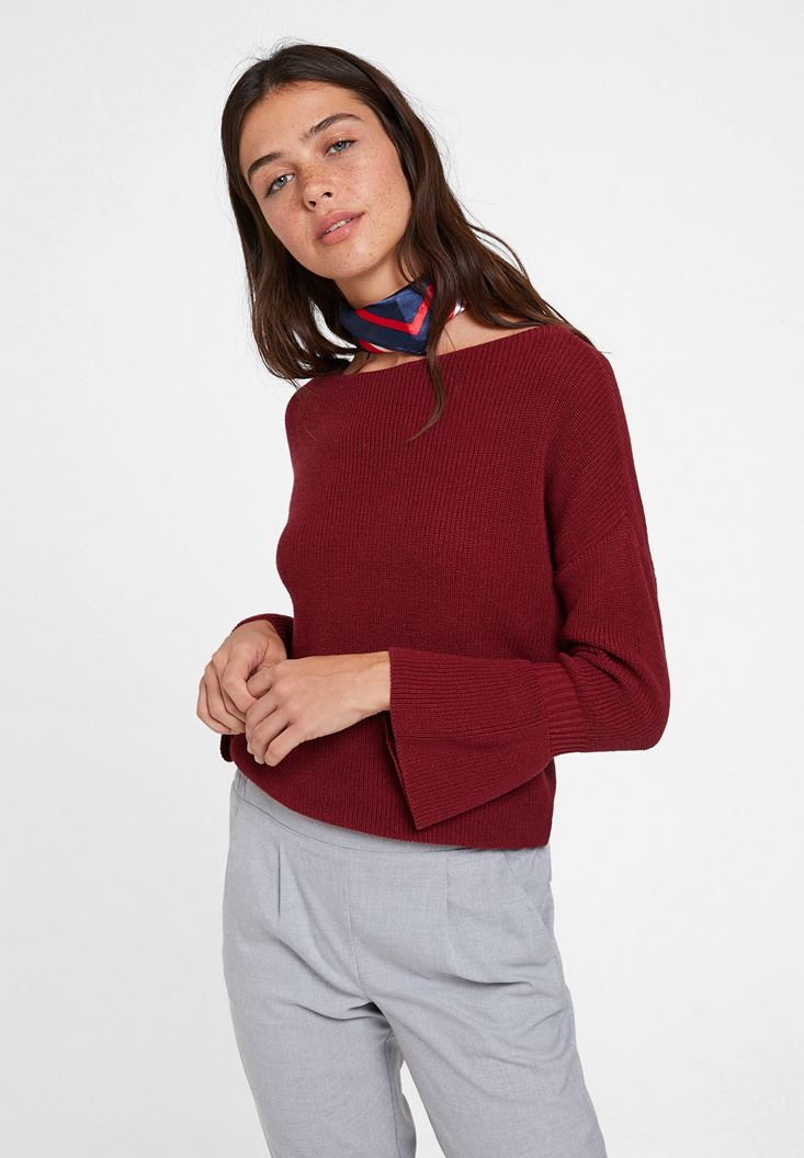 Bordeaux Long Sleeve Knitwear with Details