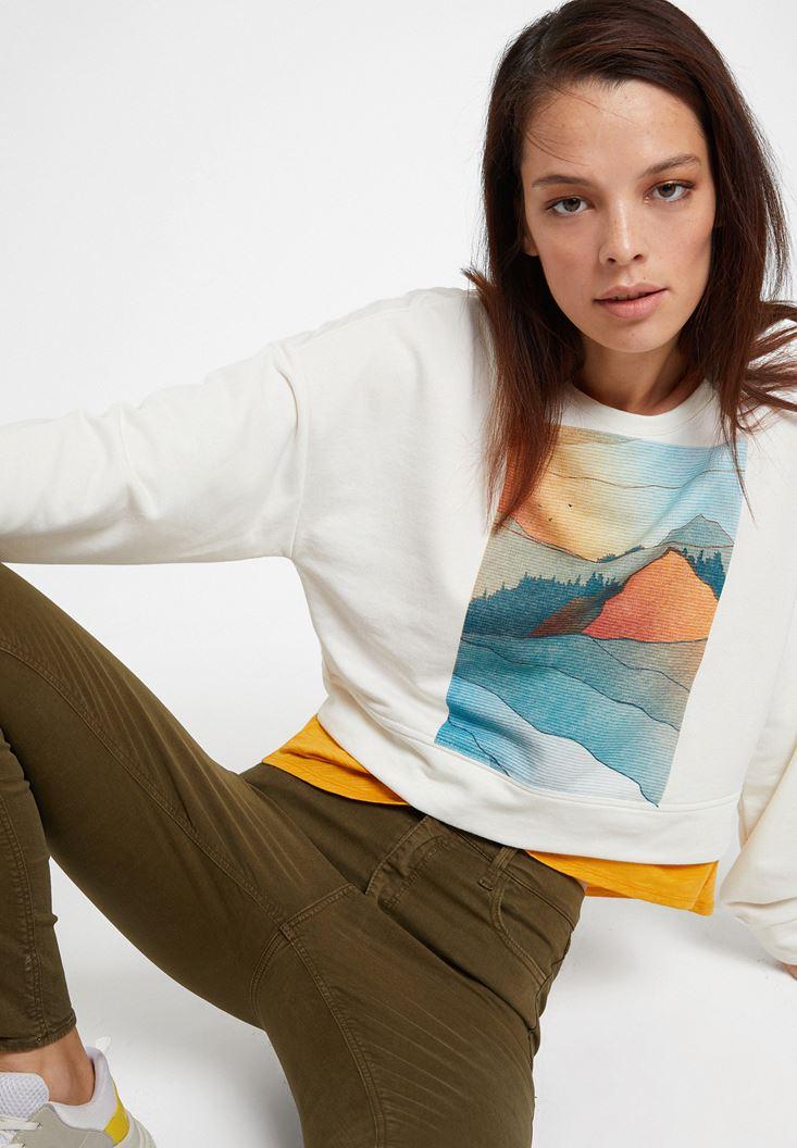 Krem Baskı Detaylı Sweatshirt