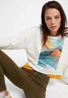 Bayan Krem Baskı Detaylı Sweatshirt