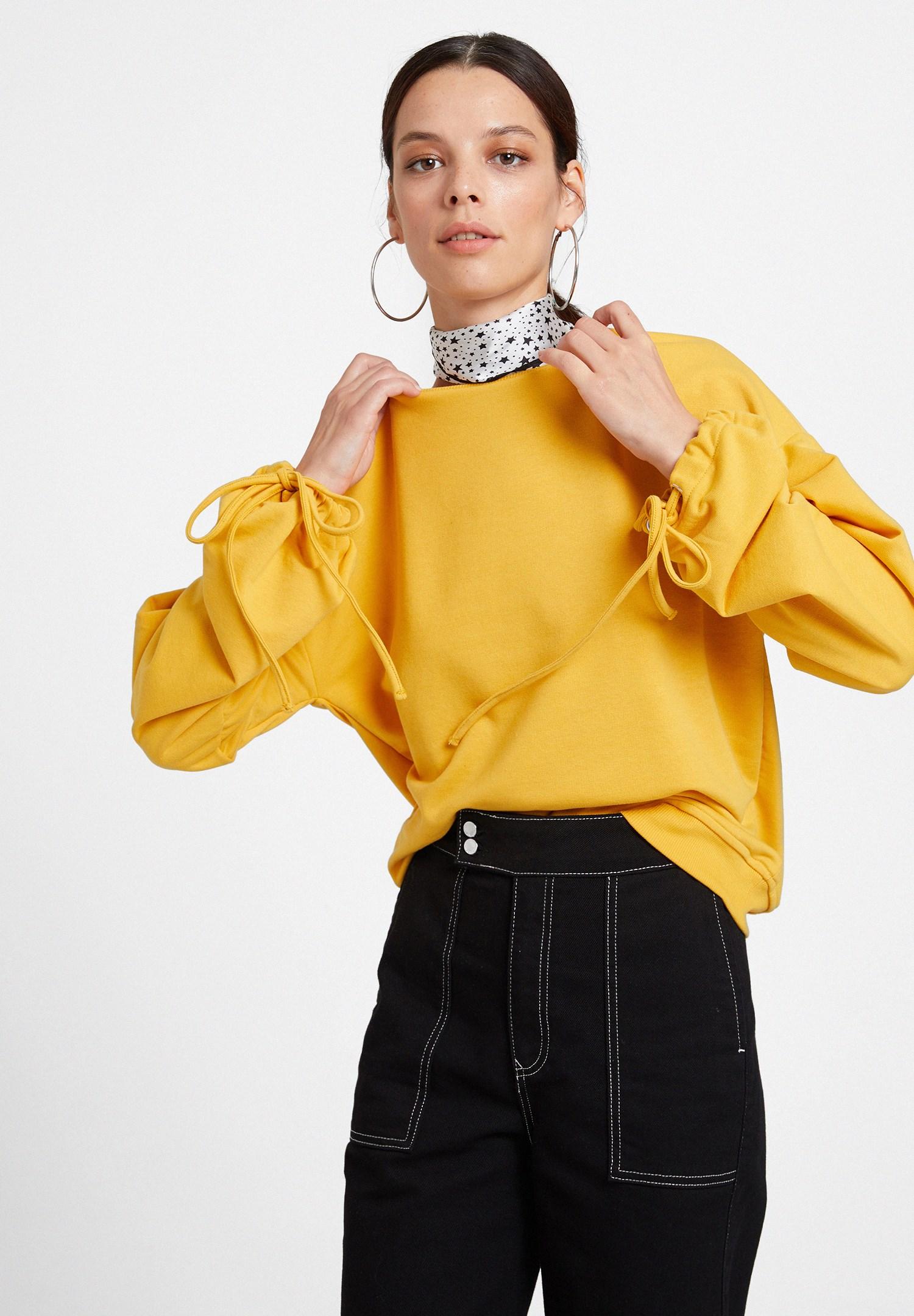 Bayan Sarı Kolları Bağlama Detaylı Sweatshirt