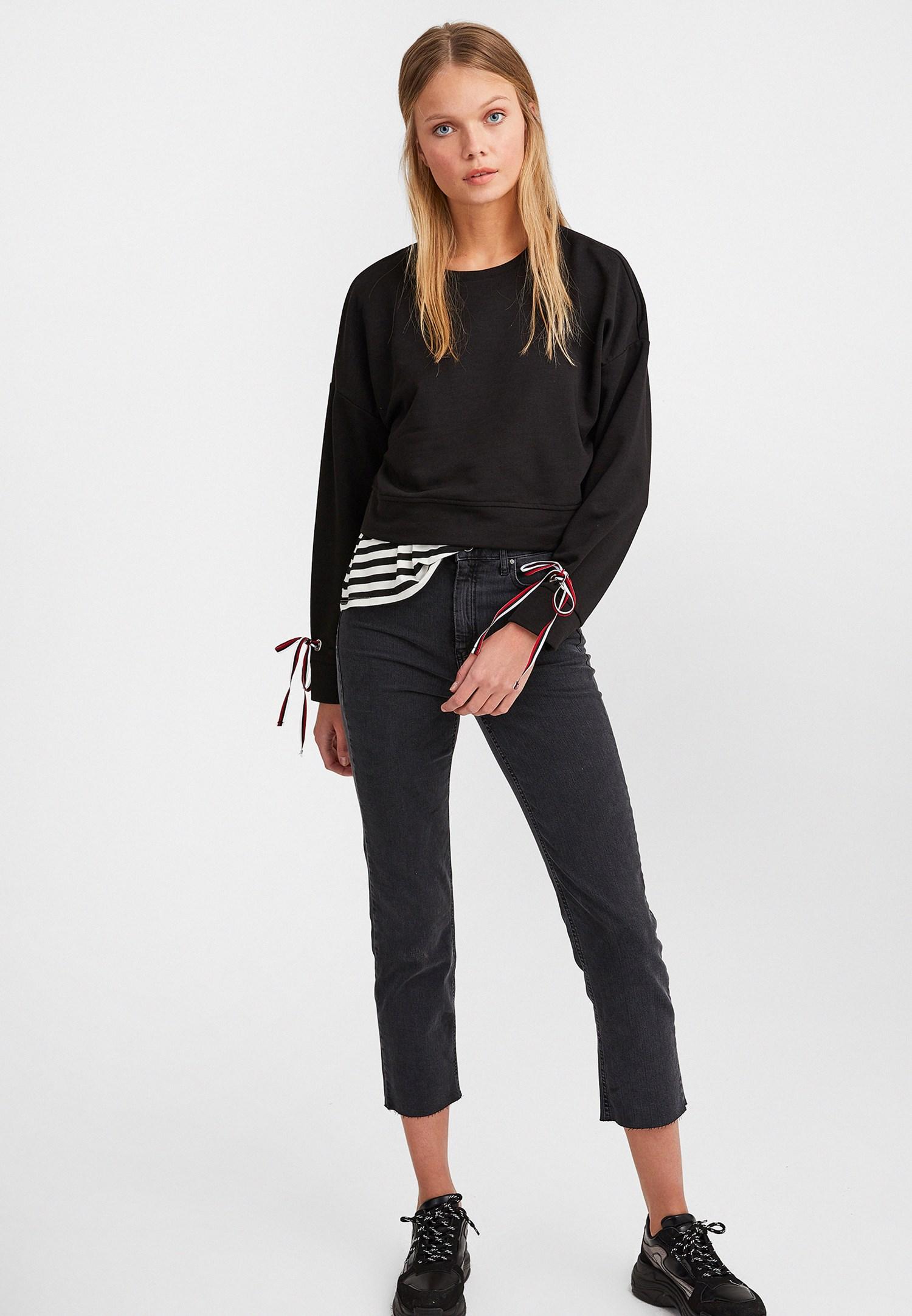 Bayan Siyah Kolları Bağlamalı Sweatshirt