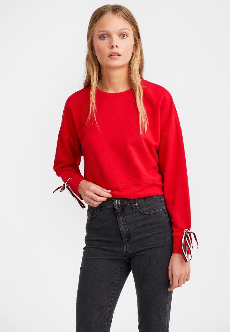Kırmızı Kolları Bağlamalı Sweatshirt