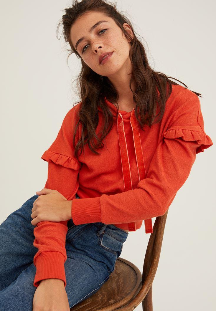 Turuncu Kol Detaylı Kapüşonlu Sweatshirt
