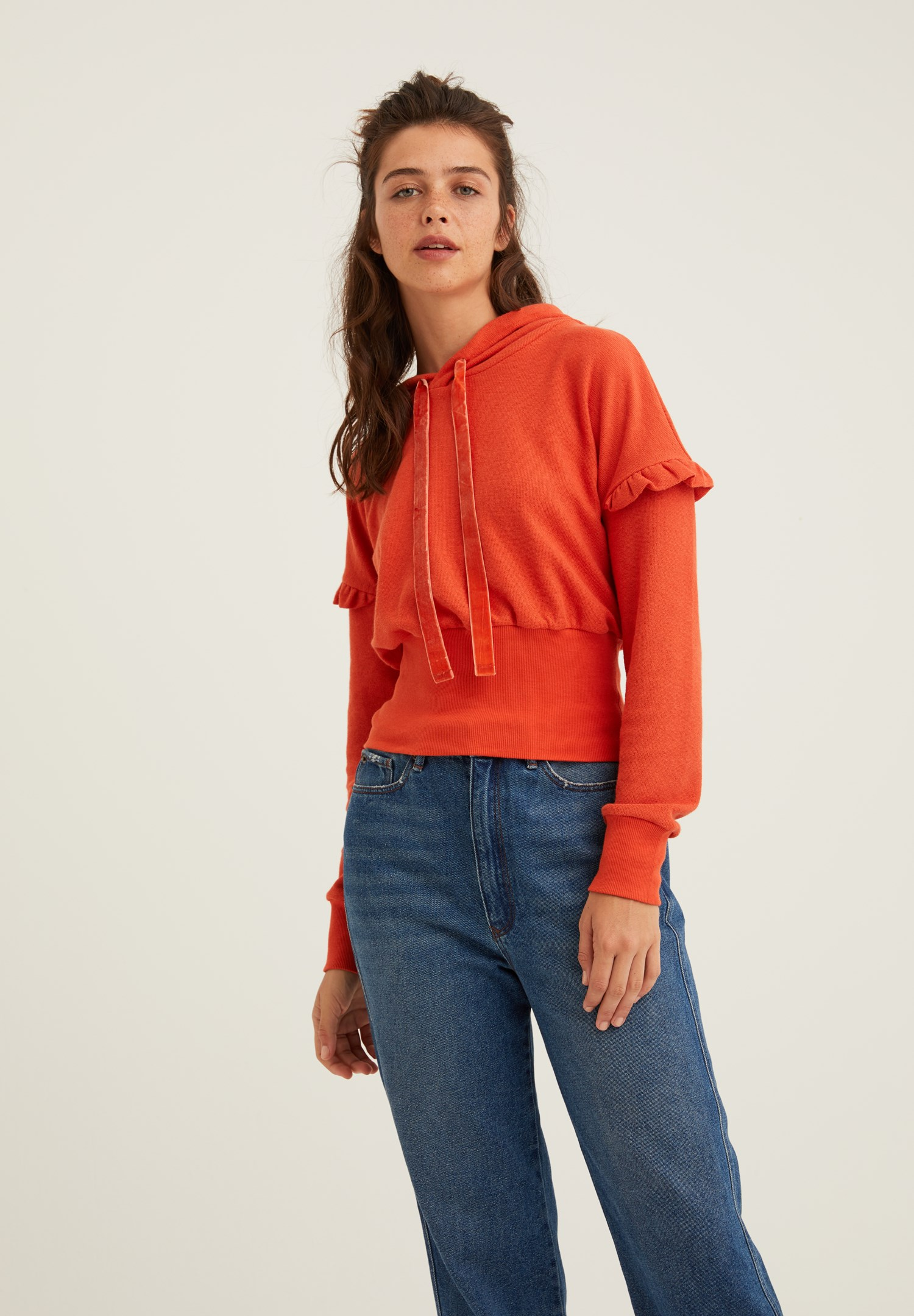 Bayan Turuncu Kol Detaylı Kapüşonlu Sweatshirt