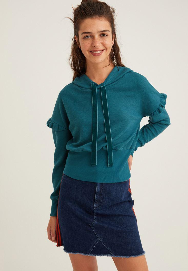 Yeşil Kol Detaylı Kapüşonlu Sweatshirt