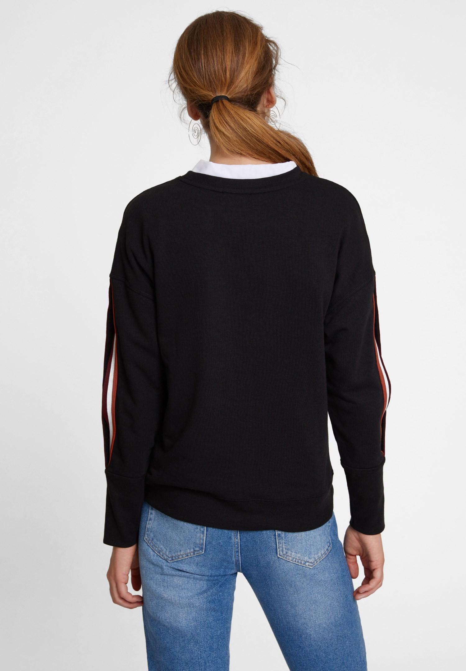 Bayan Siyah Kolları Şeritli Sweatshirt