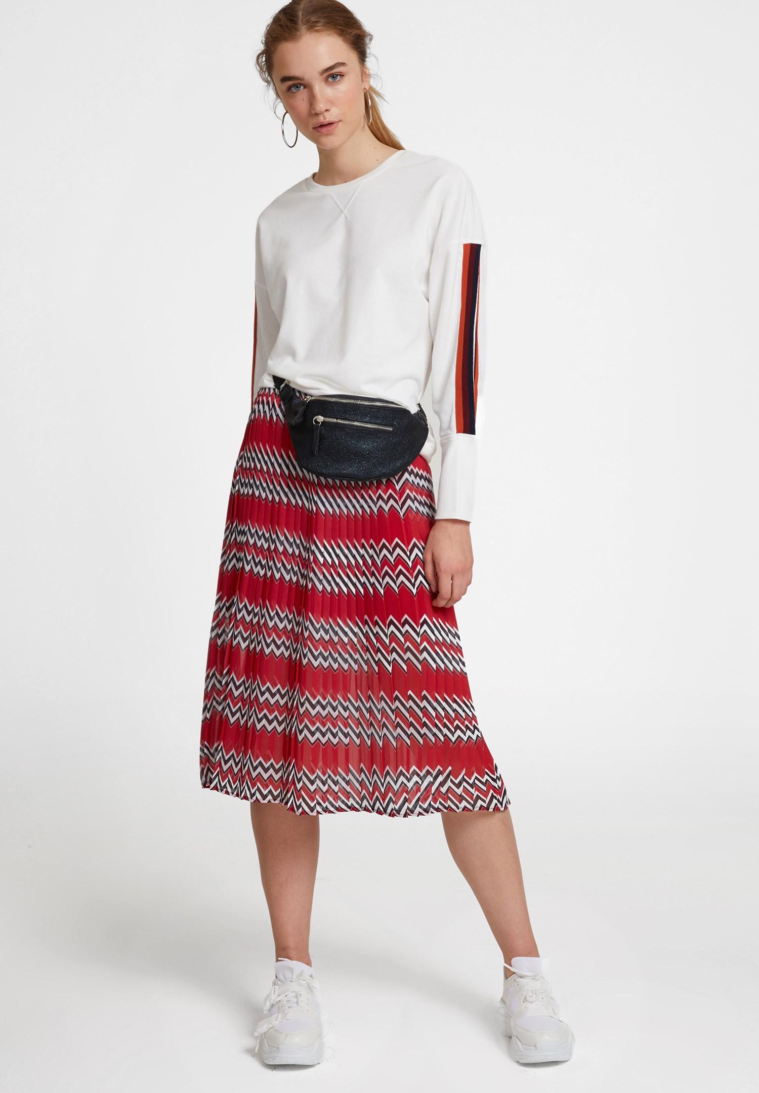 Bayan Krem Kolları Şeritli Sweatshirt