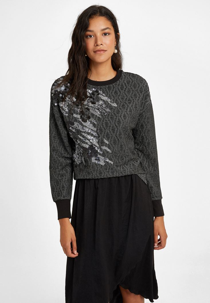 Mixed Long Sleeve Sweatshirt with Detail
