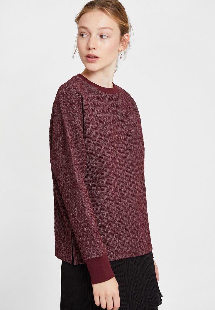 Mixed Sweatshirt with Shiny Detail