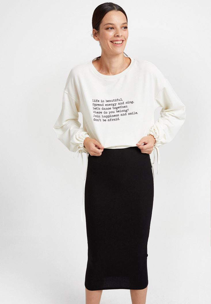 Cream Long Sleeve Sweatshirt with Text Details