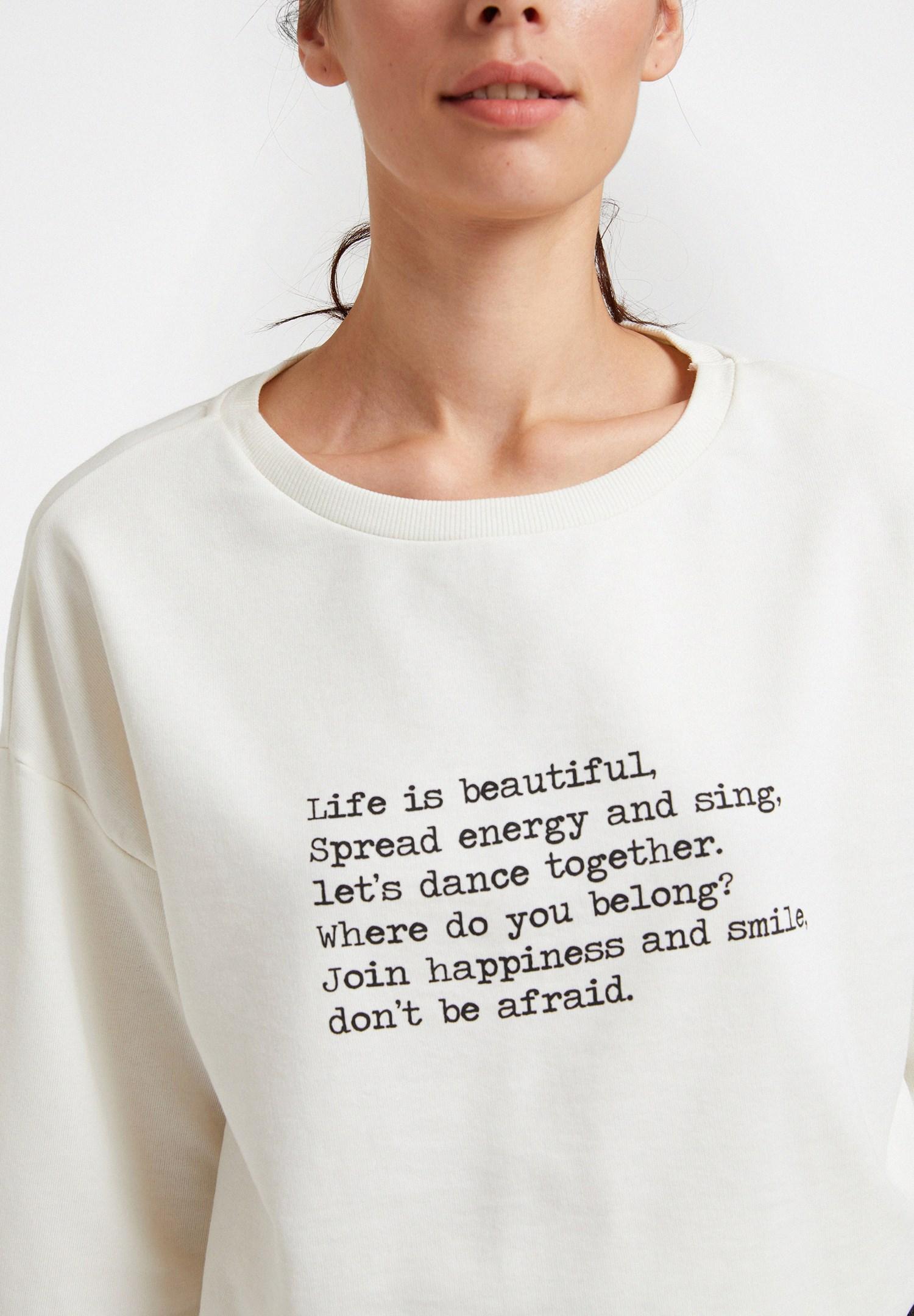 Bayan Krem Uzun Kollu Yazı Detaylı Sweatshirt