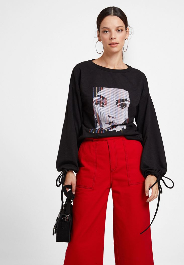 Siyah Baskılı Kol Detaylı Sweatshirt
