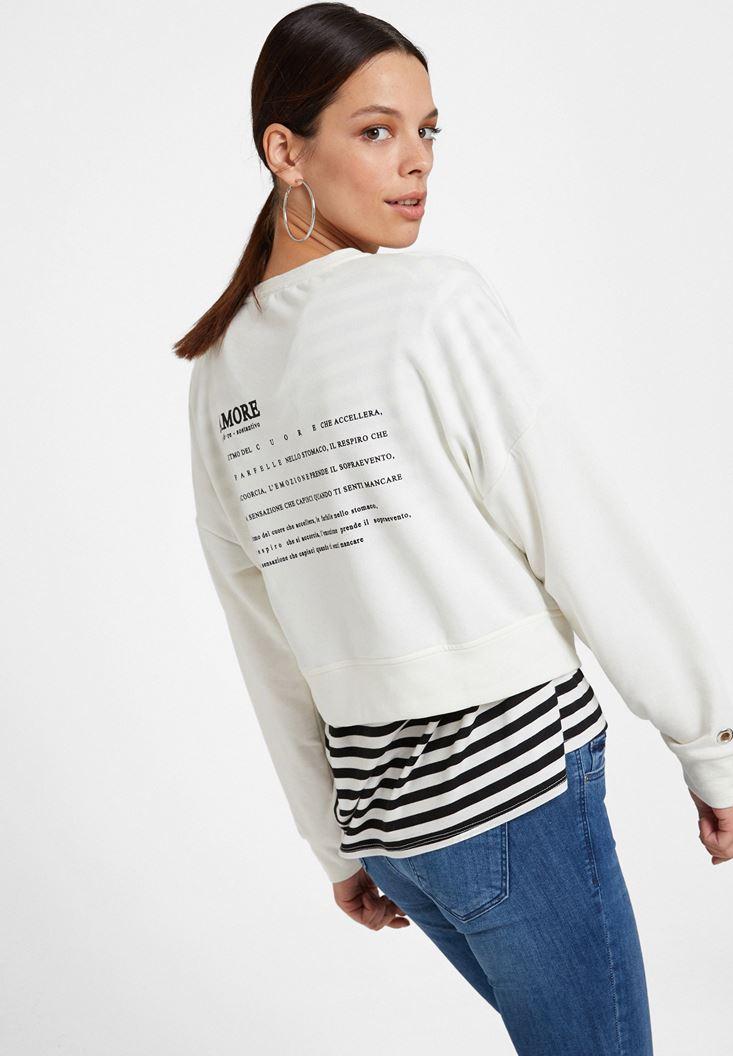 Krem Sırt Baskılı Sweatshirt