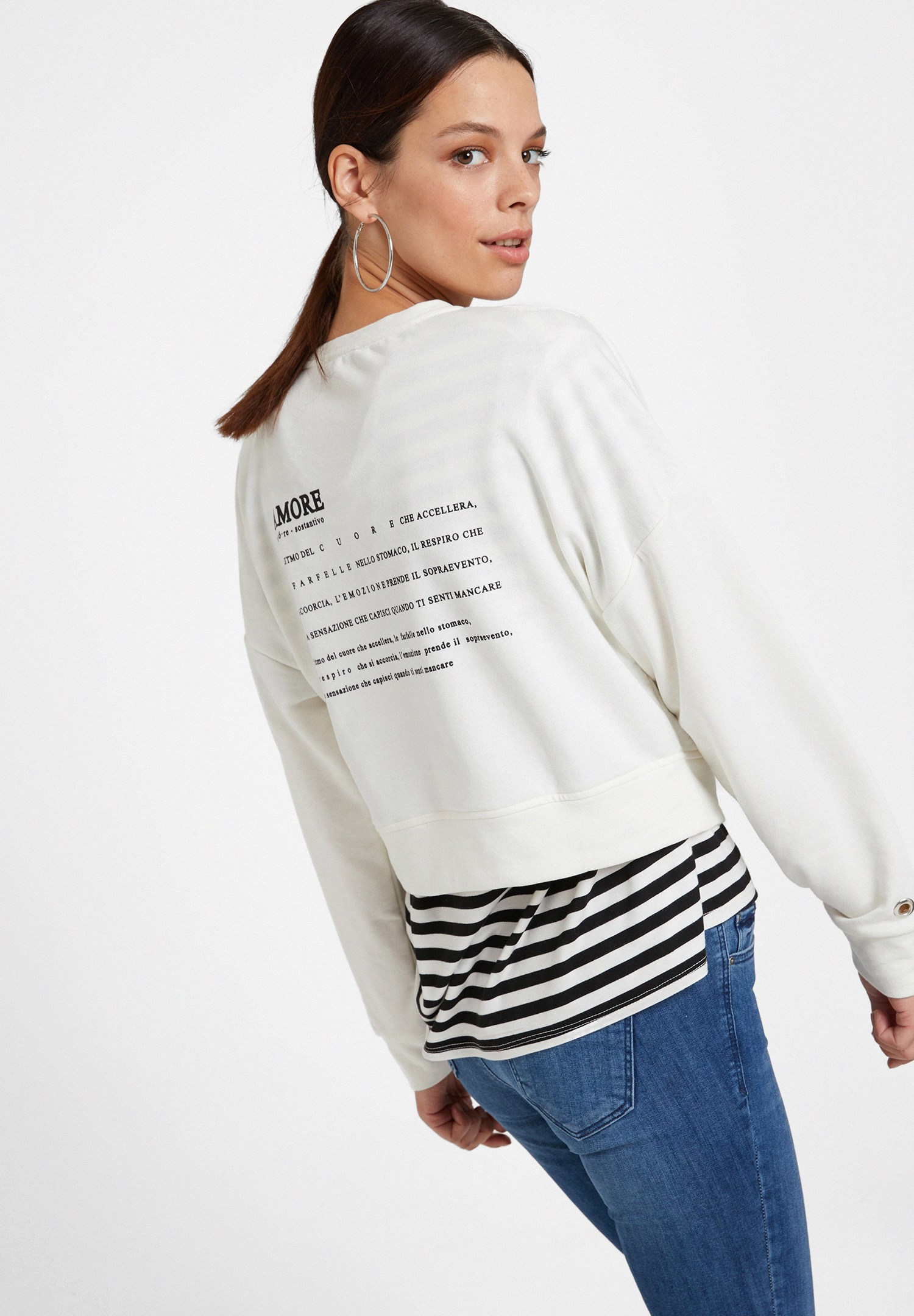 aeaef5c98 Cream Sweatshirt with Back Details Online Shopping | OXXOSHOP