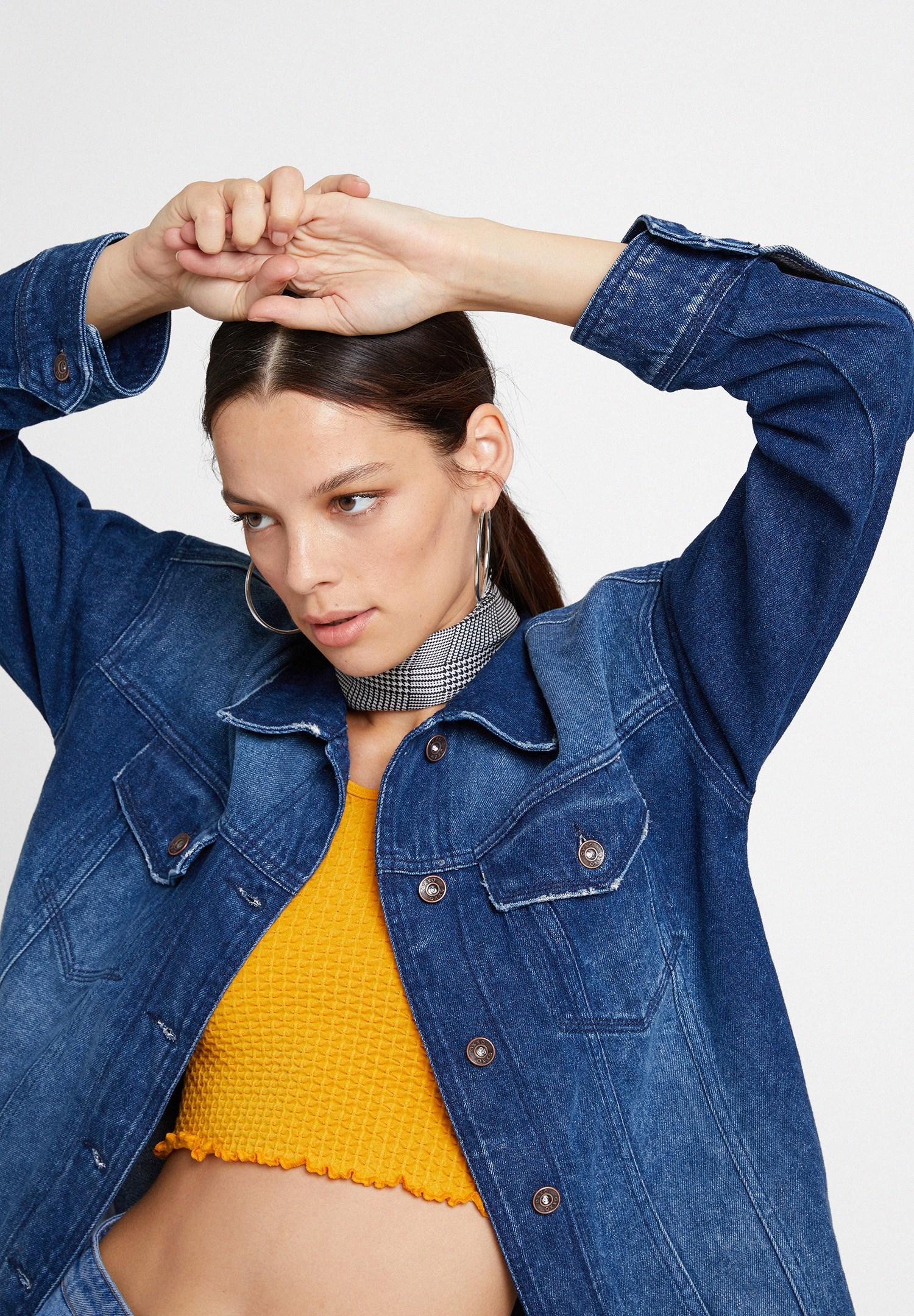 Bayan Mavi Boyfriend Denim Ceket