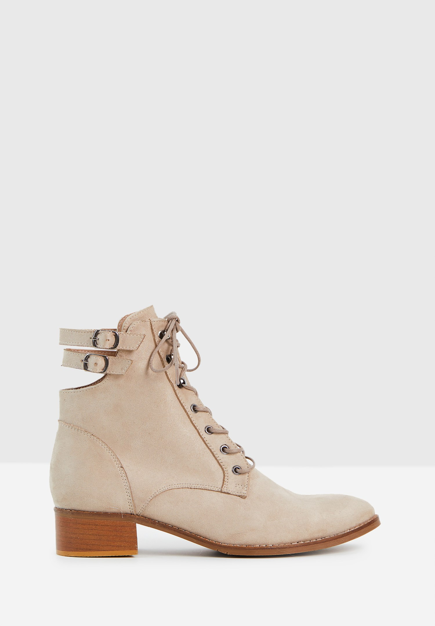 Women Cream Boots with Buckle