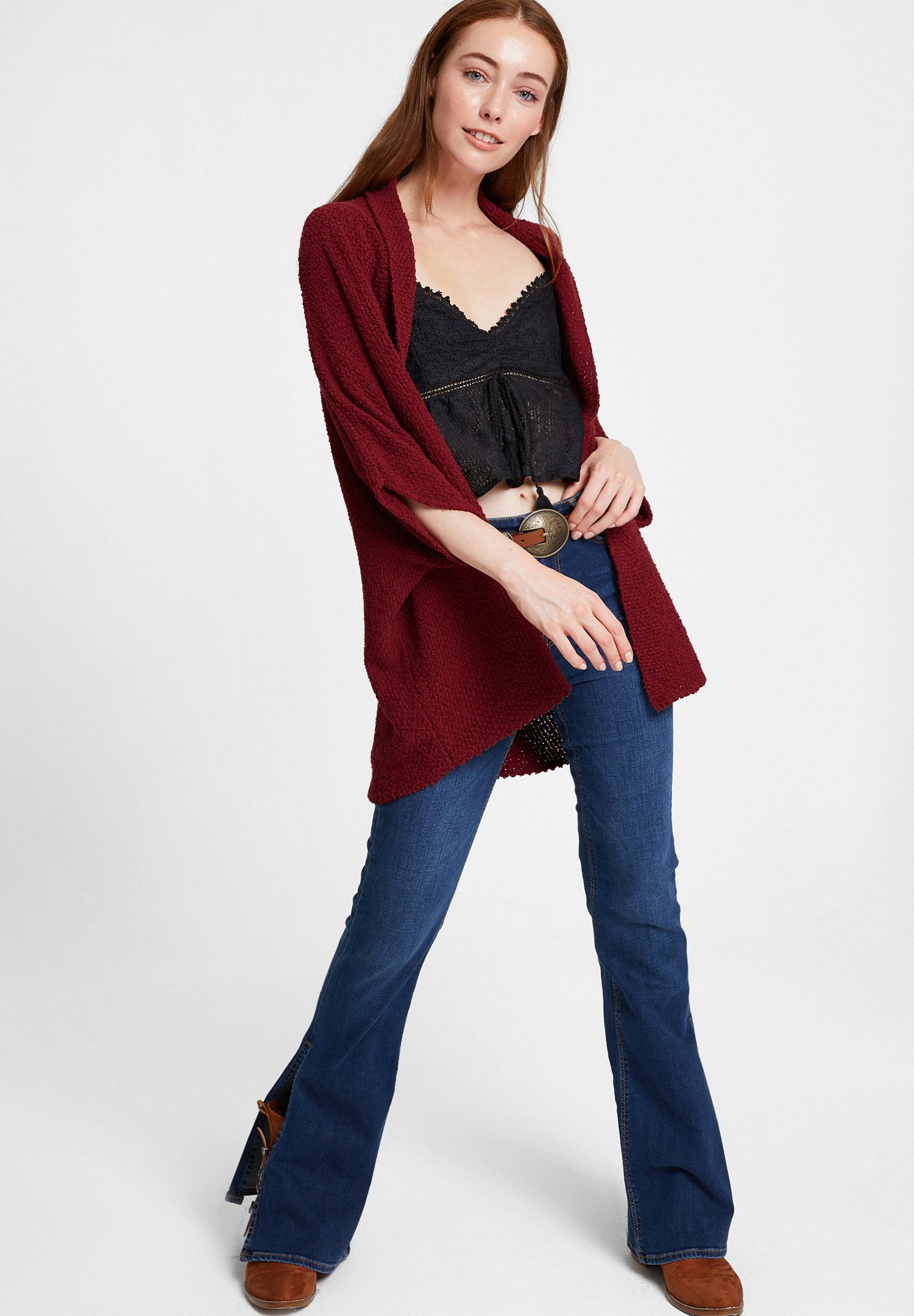 Women Bordeaux Oversize Cardigan