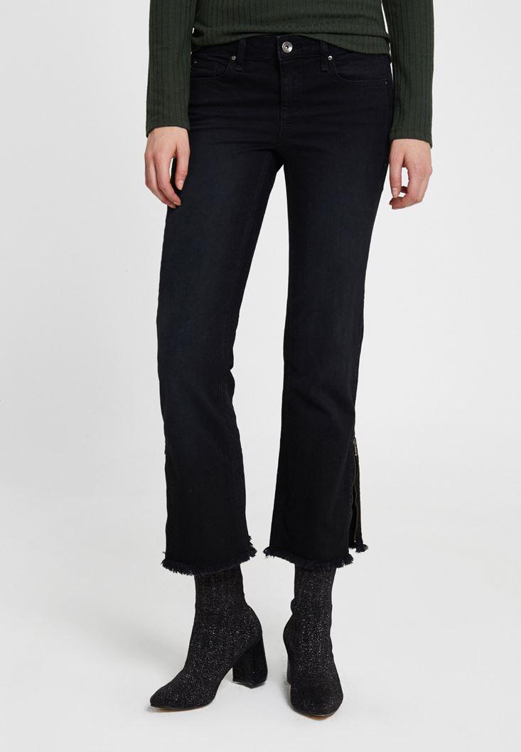 Siyah Düşük Bel Fermuar Detaylı Pantolon