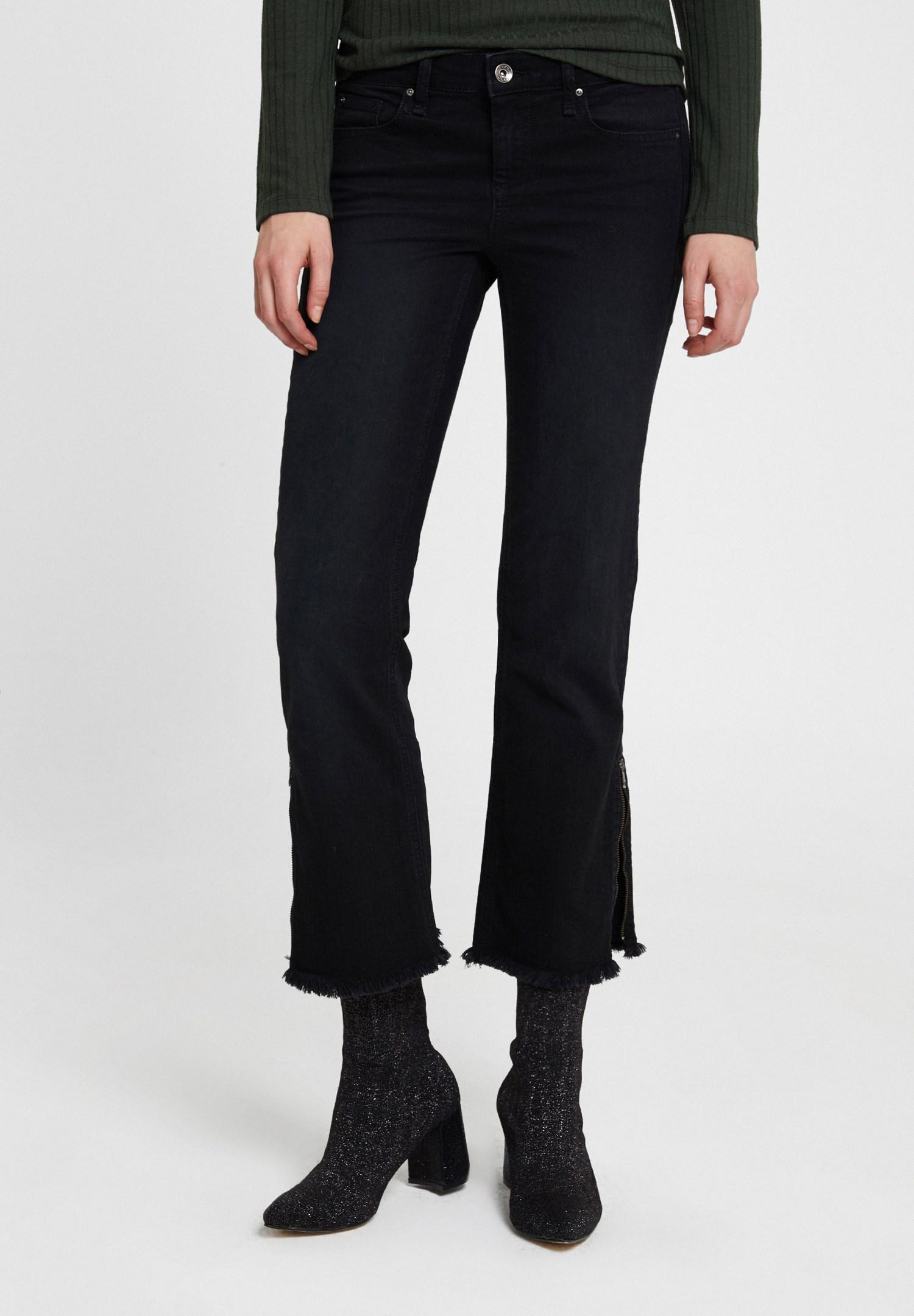 Bayan Siyah Düşük Bel Fermuar Detaylı Pantolon