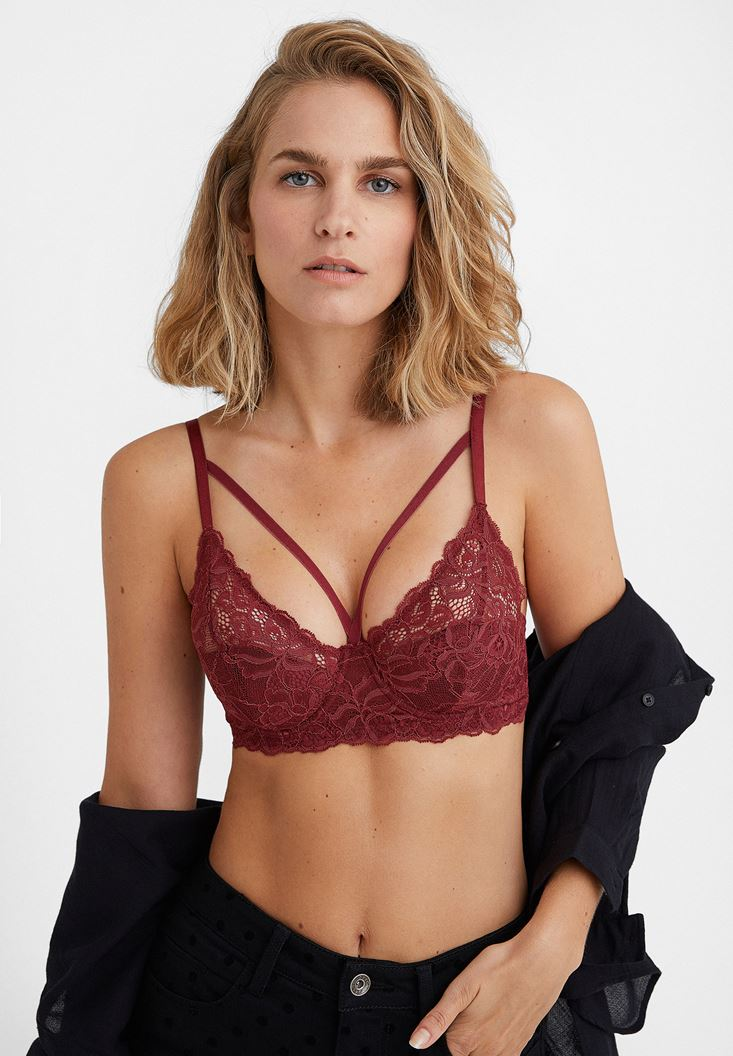 Bordeaux Laced Bustier with Details