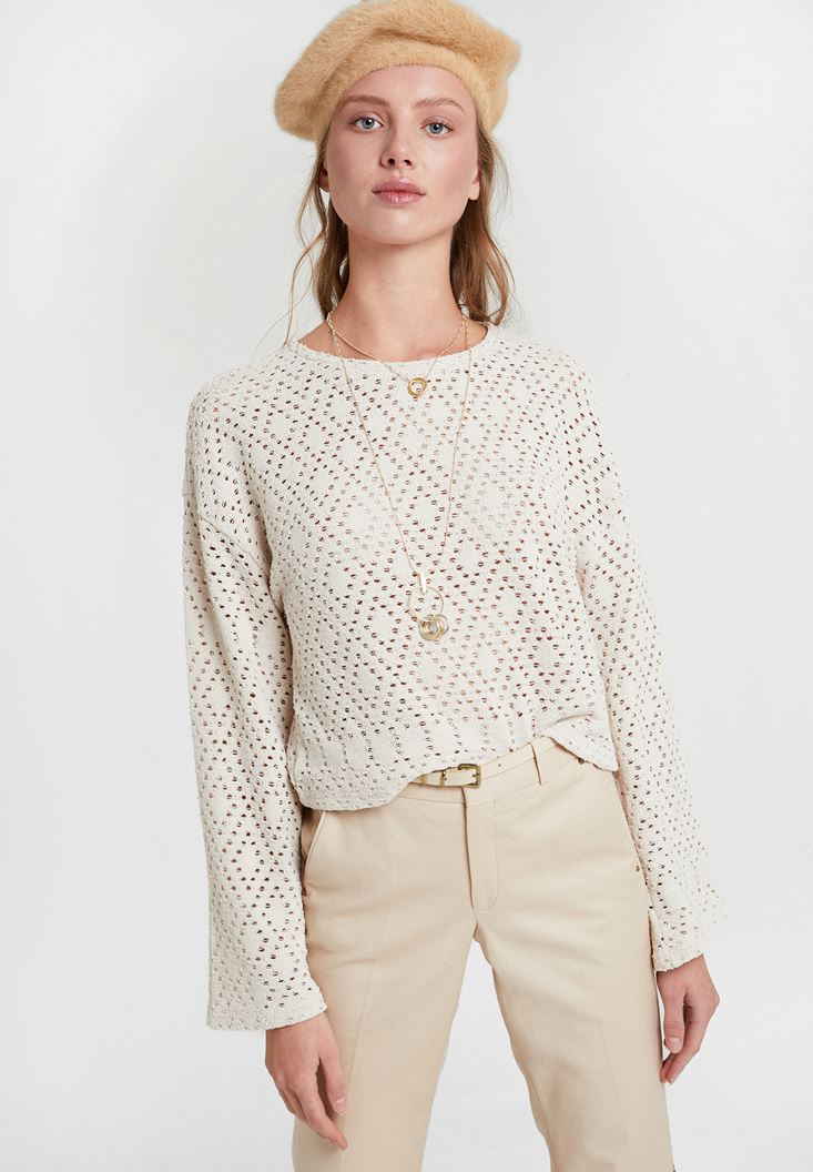 Cream Long Sleeve Pullover with Detail