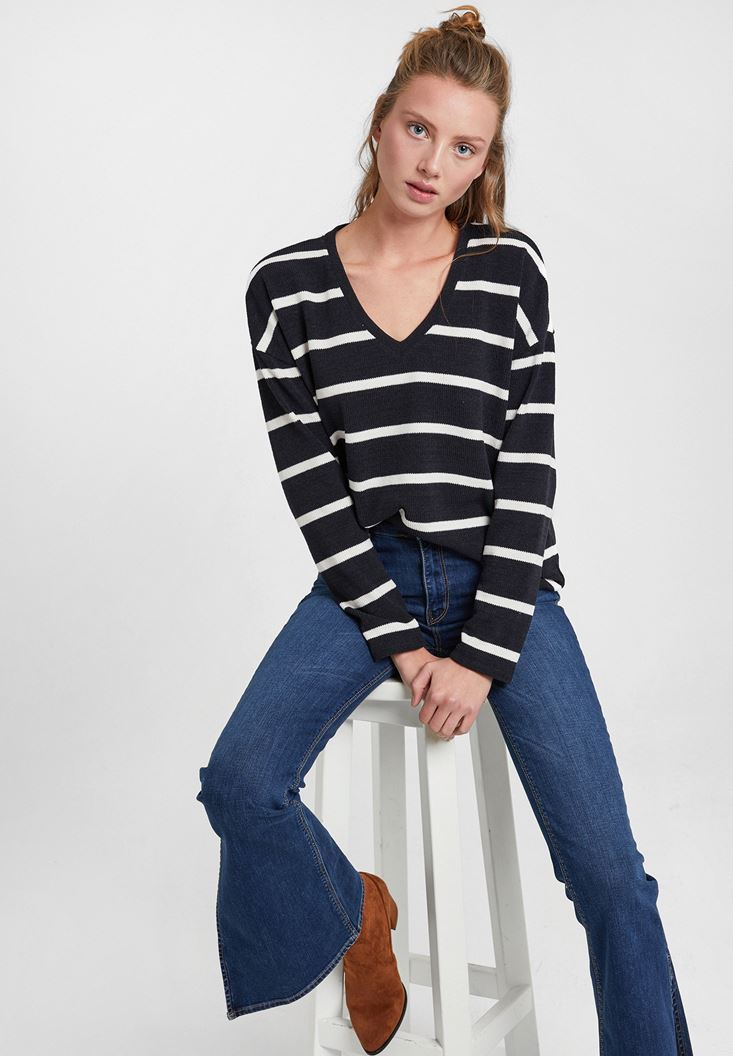 Mixed Soft Touch Knitwear with Stripe