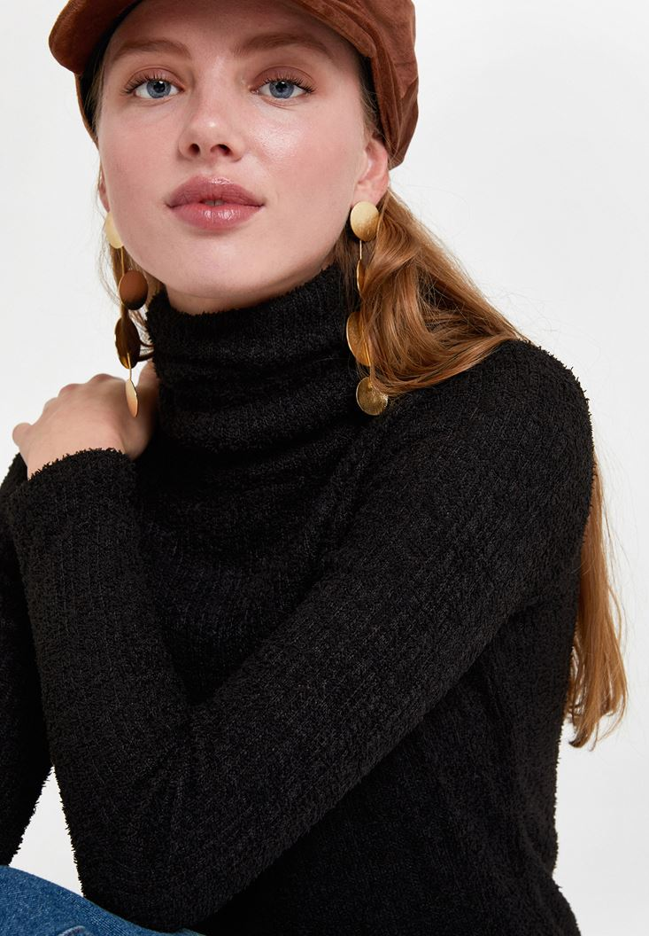 Black Long Sleeve Roll Neck