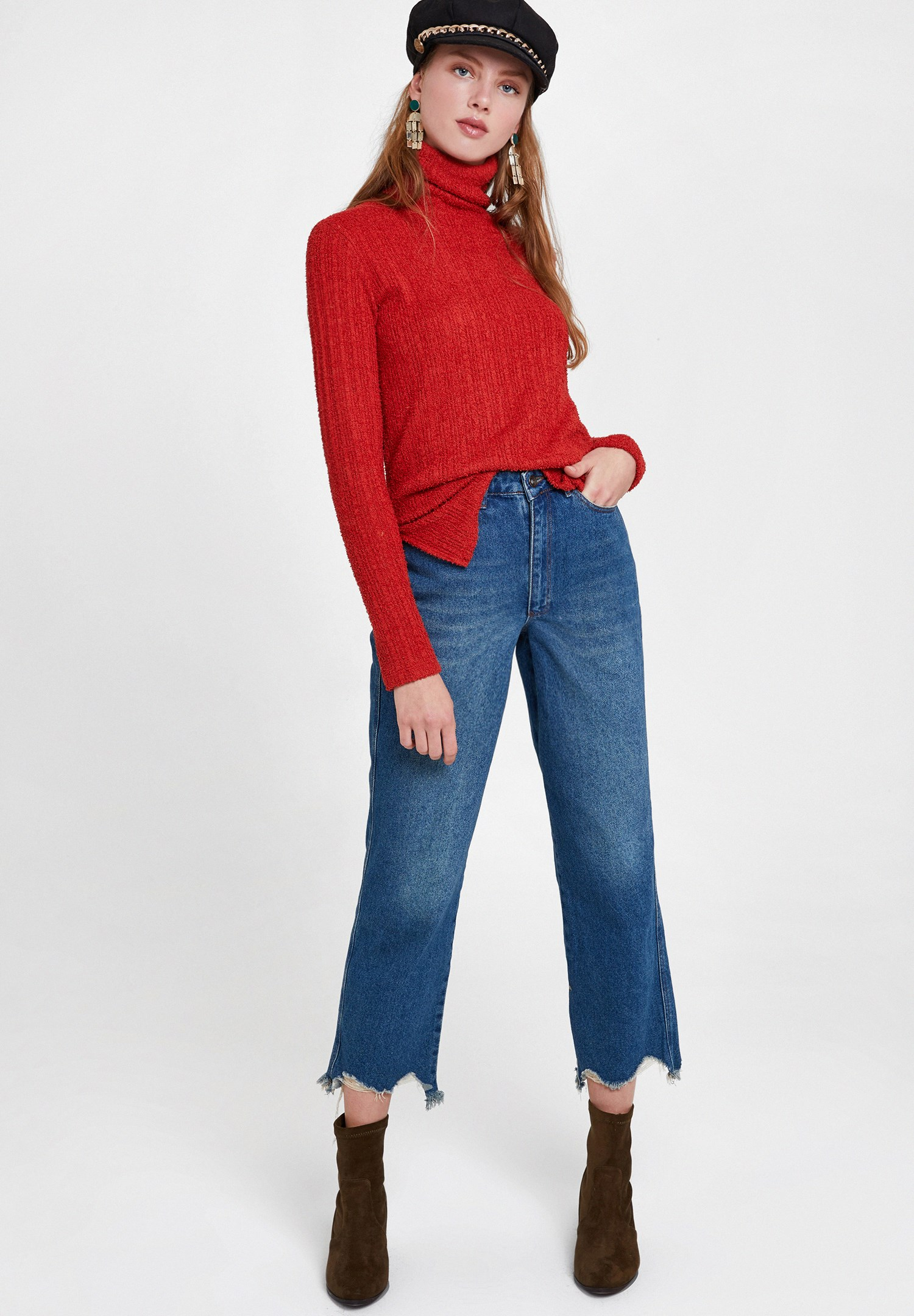 Women Red Long Sleeve Roll Neck