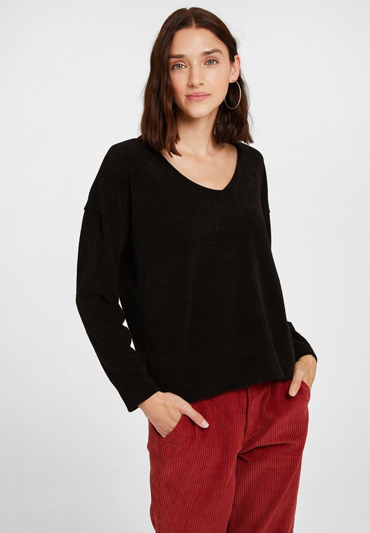 Black Soft Touch V Neck Knitwear