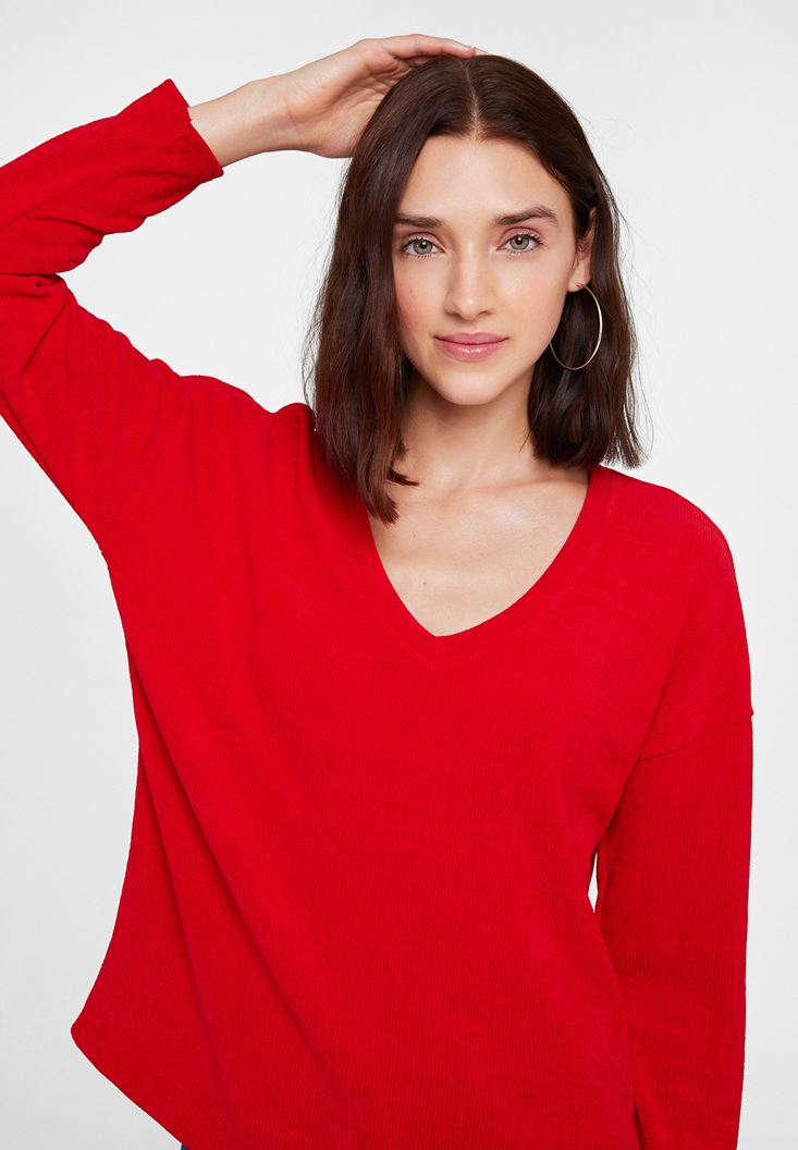 Red Soft Touch V Neck Knitwear