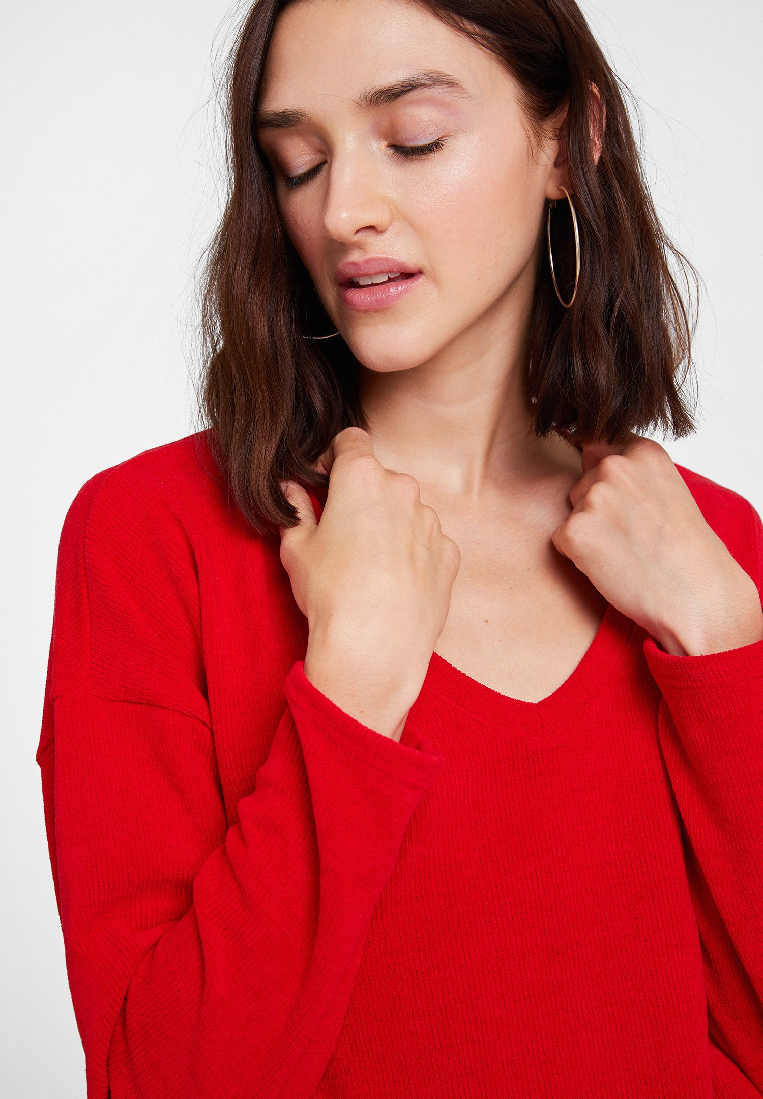 Women Red Soft Touch V Neck Knitwear